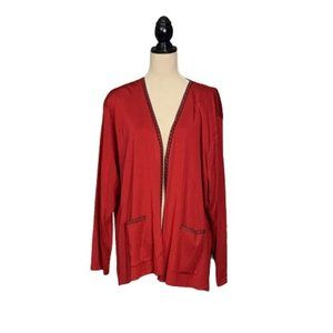 Exclusively MISOOK Woman Plus Sz 3X Red Cardigan